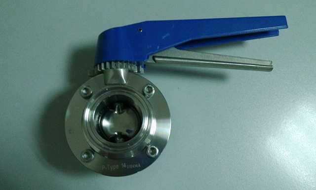 Clamped butterfly valve with blue plastic handle